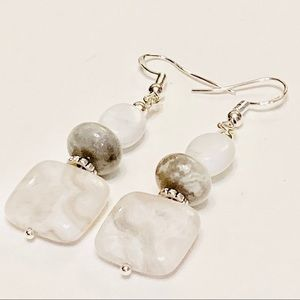White & Gray Mexican Crazy Lace Agate Earrings